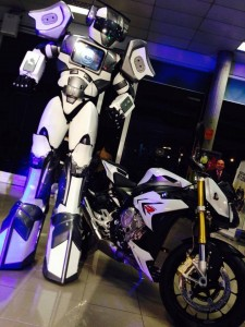 Robot Ted Audionetworks 8feet tallwith his motorbike